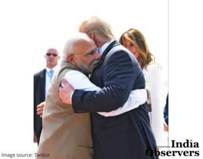 US President Donald trump hugs warmly Narendra Modi