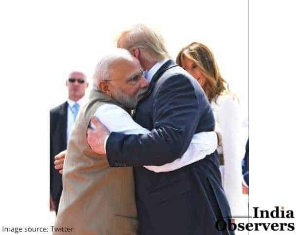 US President Donald trump hugs warmly Narendra Modi