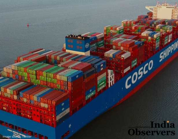 China's largest tanker Cosco ship in the sea