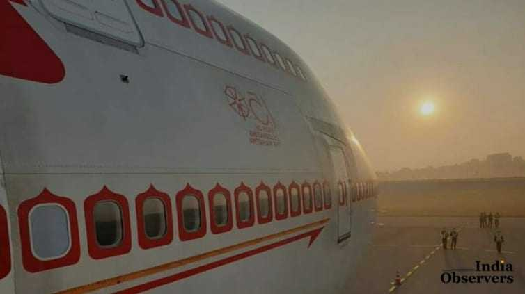 Air India's 423-seater jumbo B747 plane departed from Delhi airport