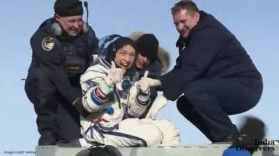 NASA astronaut Christina Koch is all smiles after setting women's record with 328-day space flight