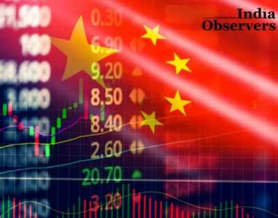 China stock market exchange analysis forex indicator trading graph chart business growth finance money crisis economy and Trade war with China flag