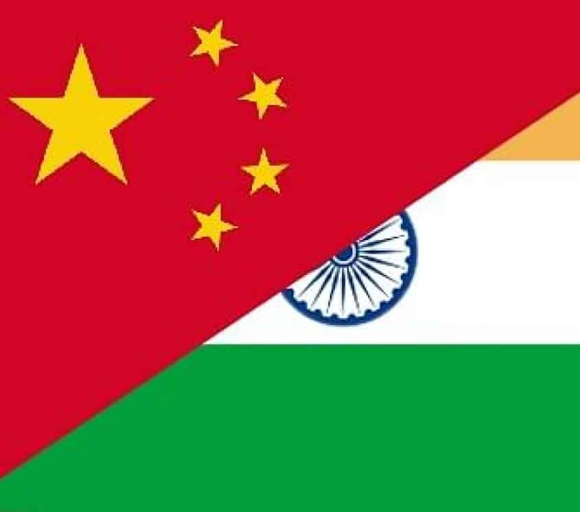 India and china flag