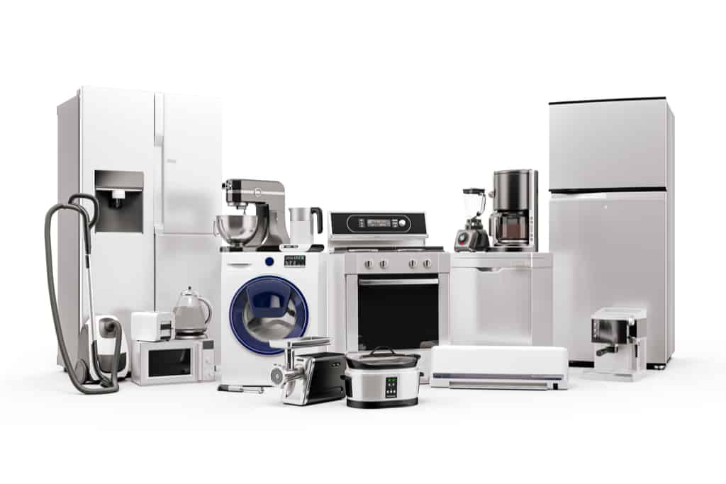 3d render of home appliances collection set