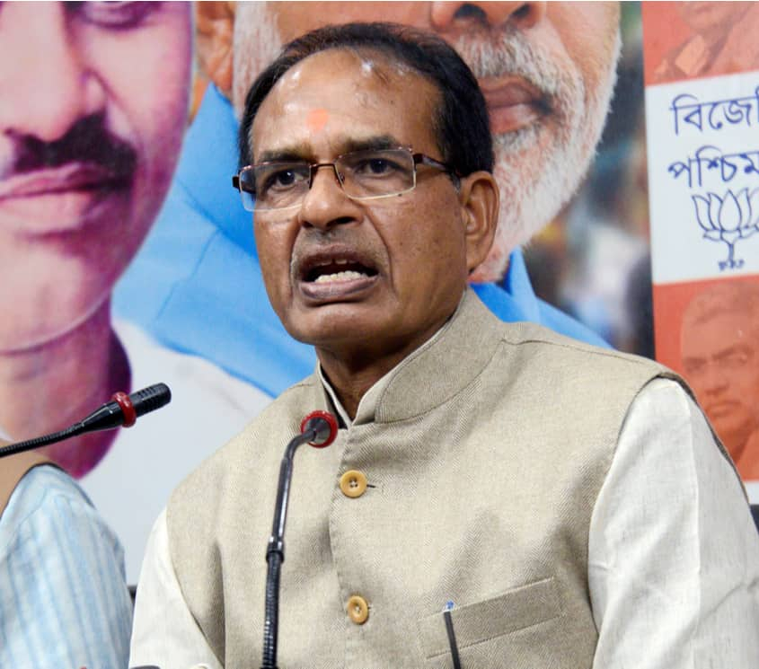 Madhya Pradesh chief minister Shivraj Singh Chauhan interacts with media