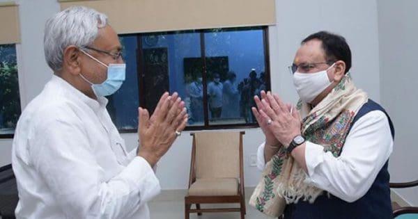 BJP's President Shri J.P.Nadda meet with Bihar's CM Shri Nitish Kumar.