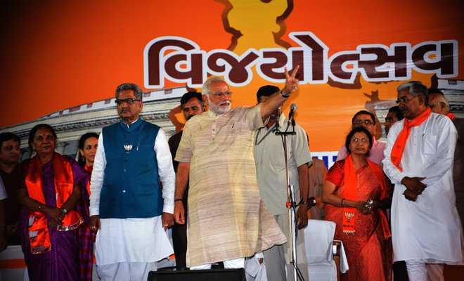 Prime Minister Narandra Modi addressing Vijayutsav rally