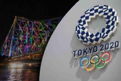 kolkata's howrah bridge lit up with olympic colors (1)