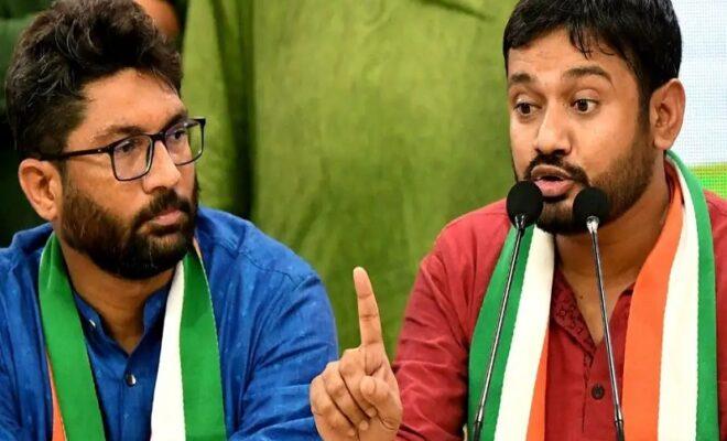 former jnu student kanhaiya kumar joins congress jignesh mavani extends support to the party